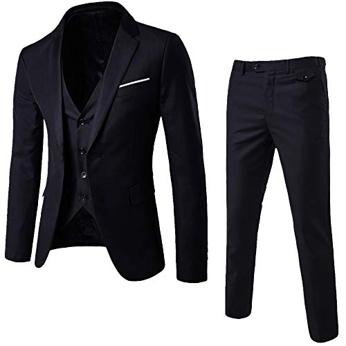 ALIKEEY herenjack slim 3 stuks blazer business bruiloft party vest & broek