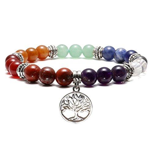 Top Plaza 7 Chakra Reiki Healing Bracelet Real Stones Yoga Meditation Mala Bead Elastic Bracelets for Women Silver Alloy Tree of Life Charm