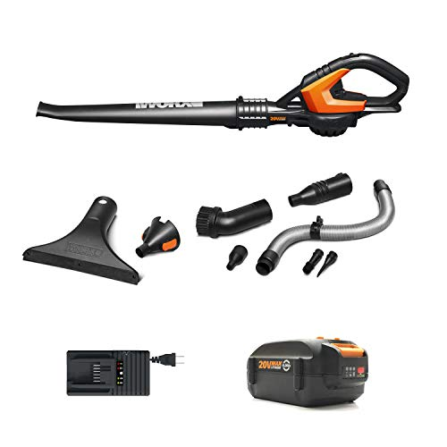 Worx-WG545.4 POWER SHARE 120 MPH 20-Volt 80 CFM Li-ion Cordless Battery Leaf Blower and Sweeper (Battery, Charger and Accessories Included)