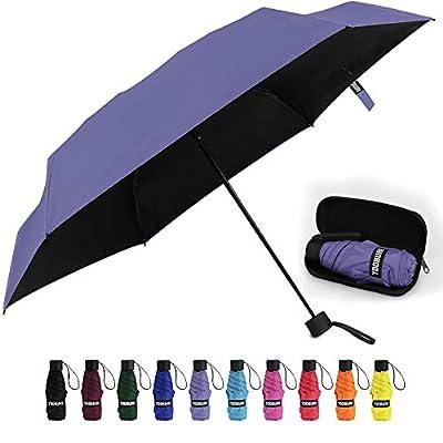 Yoobure Small Mini Umbrella with Case Light Compact Design Perfect for Travel Lightweight Portable Parasol Outdoor Sun&Rain Umbrellas (Purple)