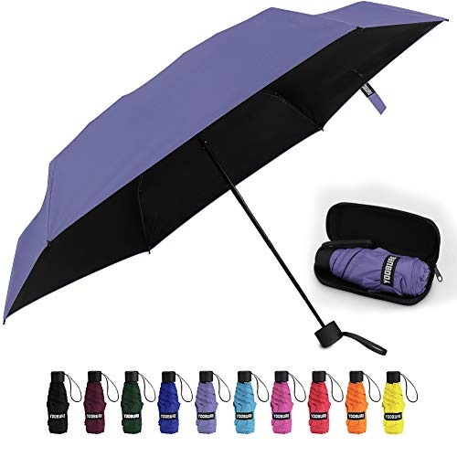 Yoobure Small Mini Umbrella with Case Light Compact Design Perfect for Travel Lightweight Portable Parasol Outdoor Sun&Rain Umbrellas