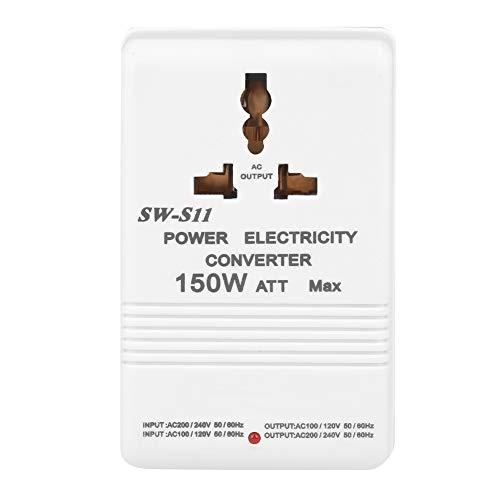 EVTSCAN SW-S11 Convertidor de voltaje elevador y descendente de 150 W, transformador dual, 220 V a 110 V/110 V a 220 V, enchufe CN