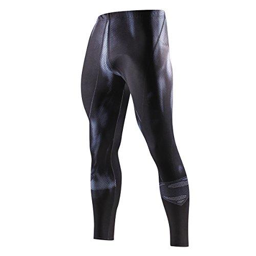 Nessfit Medias de compresión para hombre de superhéroe de capa base, leggings para gimnasio, correr, entrenamiento térmico