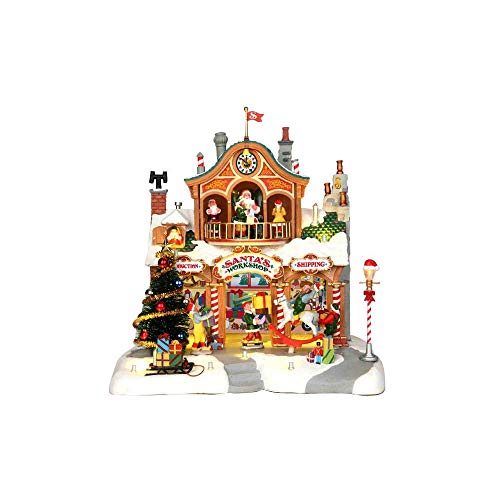 Lemax 35558 SANTA'S WORKSHOP Lighted Building Animated Christmas Village S O Scale