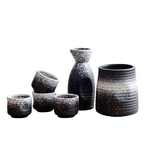 zvcv Teteras, Juego de 6 Piezas para Sake, Vino con Textura de Esmalte de Copo de Nieve Negro con Calentador y Tazas artesanales Tradicionales, para Sake frío/Tibio/Caliente/Shochu/té