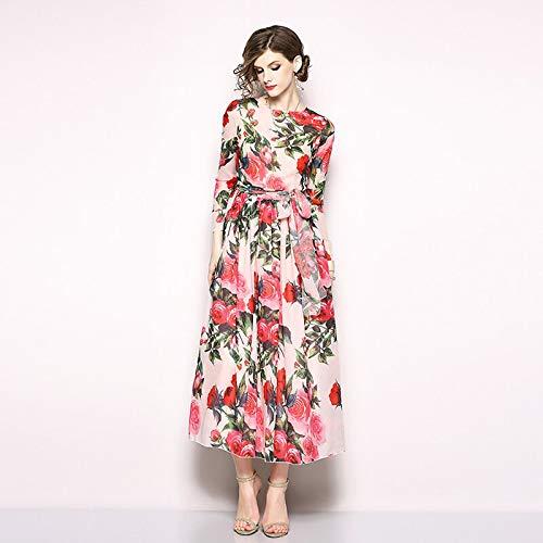 QUNLIANYI Abendkleid Abiballkleid Red Floral Long Maxi Chiffon Dress Printing Chiffon Dress Women...