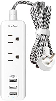 One Beat Power Strip with 2 Outlets and 3 USB Charging Ports