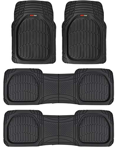 Motor Trend MT-923-920 FlexTough Contour Liners-Deep Dish Heavy Duty Rubber Floor Mats for 3 Row Car SUV Truck & Van-All Weather Protection (Black)