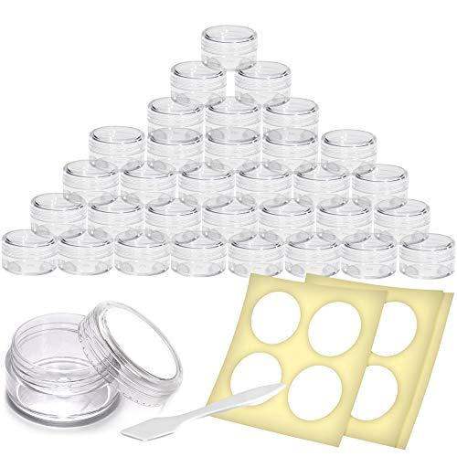 Envases para Cosmética Tarros de Viaje Botes Transparentes para Cosméticos, Maquillaje, Cremas, Lociones, con Sello Taparrosca (16 Pack)