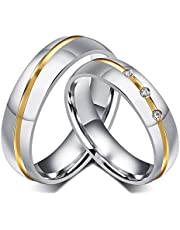18K Gold Plated Couple Rings Set Shining Cubic Zirconia Diamond Wedding Lover Gifts - Women 7 US, Men 9 US