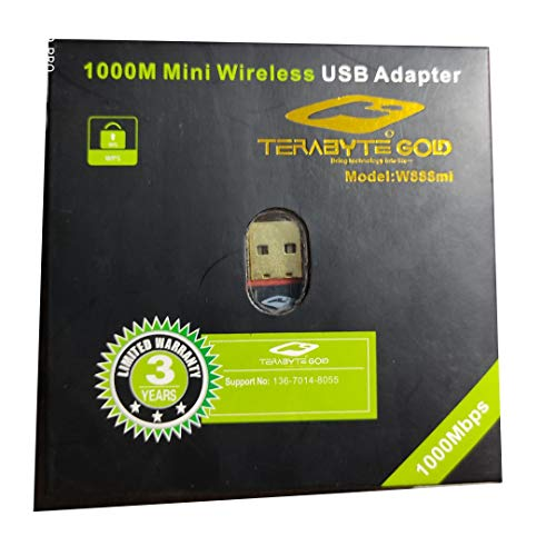 StoreIN Terabyte W888Mi Mini 1000Mbps High-Speed Wireless USB Adapter Mini WiFi Dongle for Laptop & Pc.(Gold Plated)