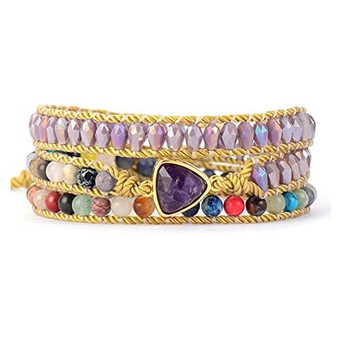 JIAH Pulseras Premium Designer Beads Pulsera Amatistas Piedras Crystal Woven Wrap Pulseras Bohemian Vegan Charm Bracelets