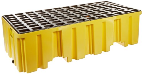 Eagle 1620 Yellow Polyethylene Two Drum Spill Pallet, 4000 lbs Load Capacity, 26.25
