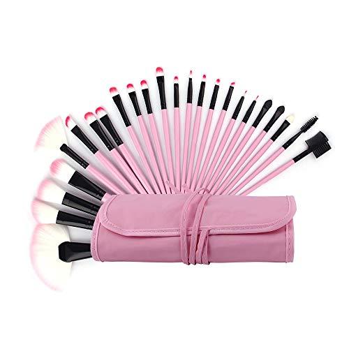 GBY Pinceaux de maquillage professionnel 32 pièces Ensemble de pinceaux de maquillage Kabuki synthétique pour fond de teint Blush Visage Eyeliner Ombre maquillage, Fibre synthétique., rose, Free