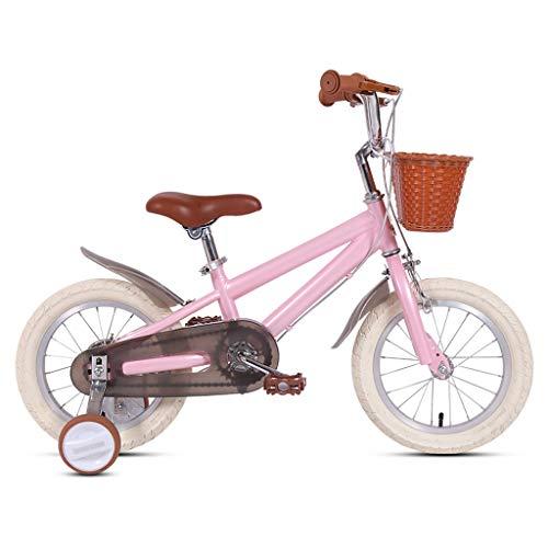 TXTC Bicicleta Cruiser del Vintage 14 16 18 Pulgadas De Bici Niños con La Cesta Y Las Ruedas De Entrenamiento For 3-9years Old Girls & Boys, Bicicleta Equilibrio For Niños Y Niñas