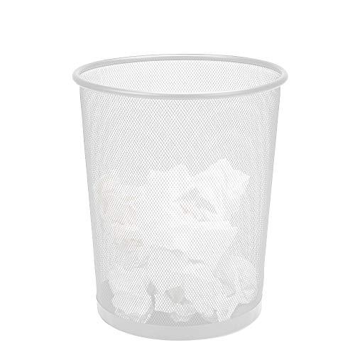 Mind Reader 1CIRGA-WHT Garbage Basket, Recycling Set, Round Metal Mesh Trash Waste Bin, White