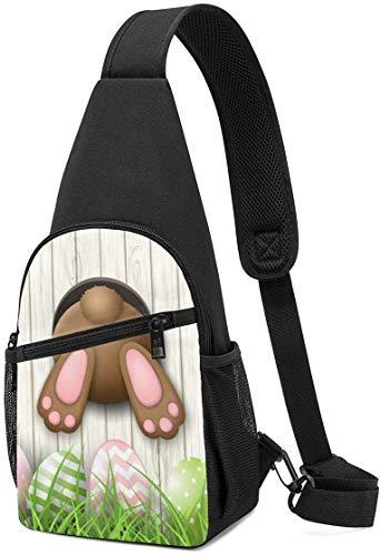 Nigel Tomm Sling Bag Conejito de Pascua Agujero de Madera Impreso Mochila de Hombro Bolso Bandolera Viaje Senderismo Bolsa de Pecho Mochila