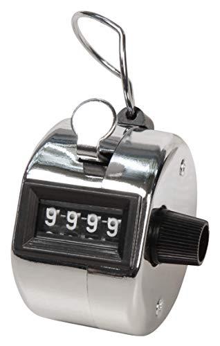 MC POWER - Mechanischer Handzähler | Metallgehäuse mit Ring für Fingerhalt, 0-9.999