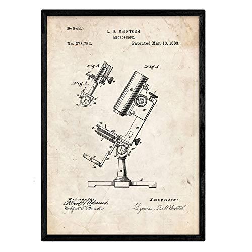 Nacnic Poster con patente de Microscopio. Lámina con diseño de patente antigua en tamaño A3 y con fondo vintage