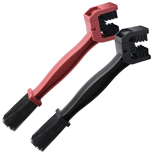 Sukudon 2 Pcs Motorcycle & Bicycle Chain Cleaning Brushes Mountain Bike Cleaning Maintenance Tool(Red, Black)