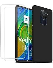 Funda para Redmi Note 9 con [2 Pack] Cristal Templado Protector de Pantalla,Negro Suave Líquido Silicona Protectora Carcasa para Xiaomi Redmi Note 9 (6.53 Pulgadas)