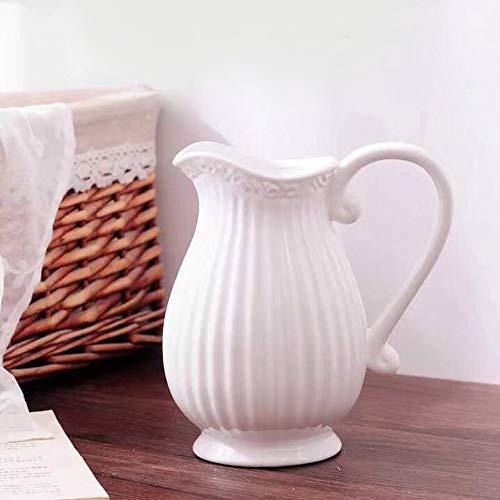 GMMH Pastel Krug Keramik Kanne Karaffe Milchkrug (Weiß)
