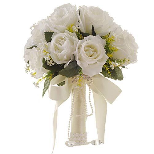 Bouquet da sposa bianco artificiale artificiale rosa rosa per matrimonio con strass per foto