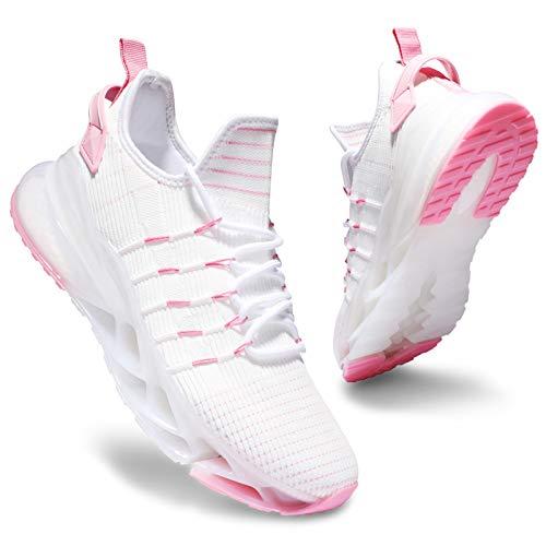 Deevike Sneaker Damen Laufschuhe Wanderschuhe Sportschuhe Turnschuhe Tennisschuhe rutschfest Stoßfest Schuhe Weiß Rosa-42