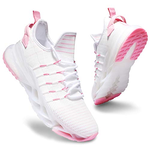 Deevike Sneaker Damen Laufschuhe Wanderschuhe Sportschuhe Turnschuhe Tennisschuhe rutschfest Stoßfest Schuhe Weiß Rosa-35