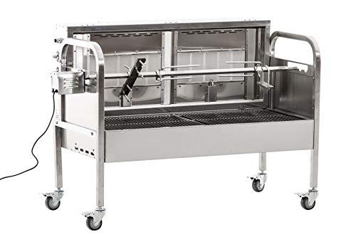 CLP Edelstahl Spanferkel-Grill Marshall mit Motor | inkl. Abdeckhaube | 2 gasbetriebene Grillflächen | Belastbarkeit bis 50 kg Silber