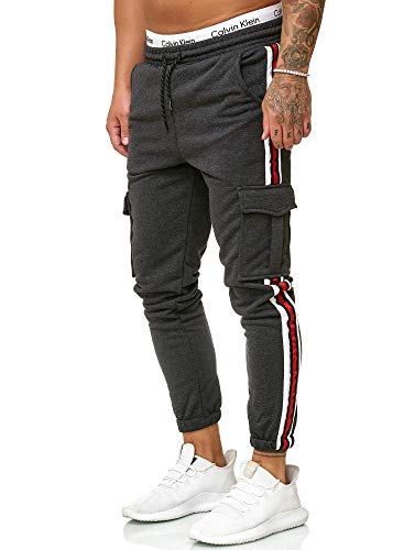OneRedox Herren | Jogginghose | Trainingshose | Sport Fitness | Gym | Training | Slim Fit | Sweatpants Streifen | Jogging-Hose | Stripe Pants | Modell 1224 Antra L