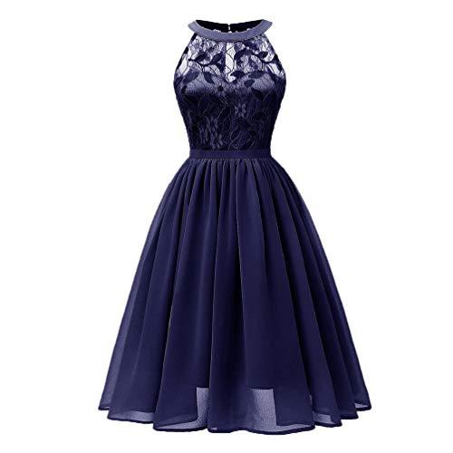 Photno - Vestido de encaje sin mangas para mujer, estilo casual con estampado floral y cuello en V, Marino, M