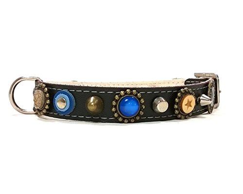 Superpipapo Hunde-Halsband, Handmade Schwarz Leder für Kleine und Mittelgroße Hunde, Edel Fashion Modern Elegant Chic und Cool Gleichzeitig, 40 cm S: Halsumfang 30-35 cm, Breit 15mm