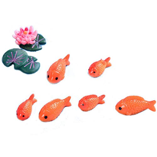 SNOWINSPRING 8pc / lot Figurines Miniatures de Poisson Rouge Animaux de Jardin Mini de fee decoratifs Ornements de Micro-Paysage de Mousse Jouet de Bebe en resine
