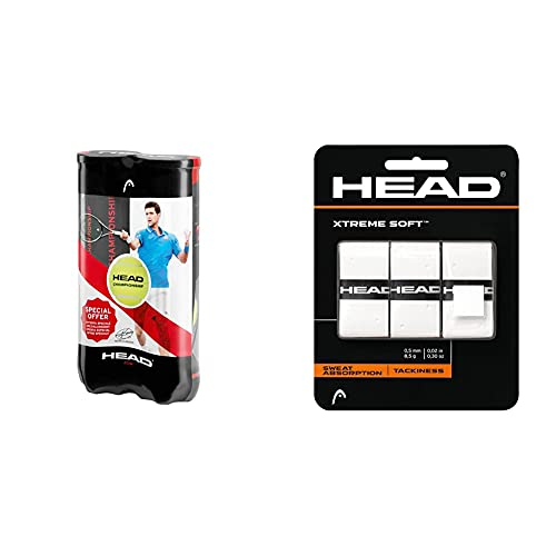 HEAD 3B Padel, Set de 8 Pelotas para Tenis + Xtremesoft Overgrip de Tenis, Unisex, Blanco, S