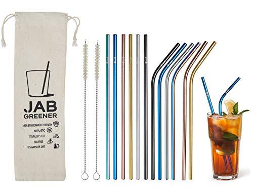 JABs 12 Farbige Edelstahl Strohhalme Wiederverwendbar gerade Trinkhalme und Gebogene Halme Reinigungsbürsten Tragetasche