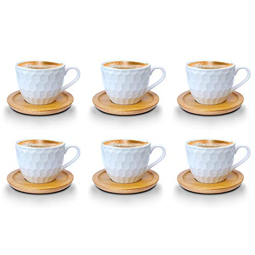 Kaffeetassen Espressotassen Cappuccinotassen mit untersetzer Bambus untersetzer Porzellan 6 Tassen + 6 Untersetzer Weisse Kaffeetassen Set (Kaffeetassen 200 ml, Model 2)