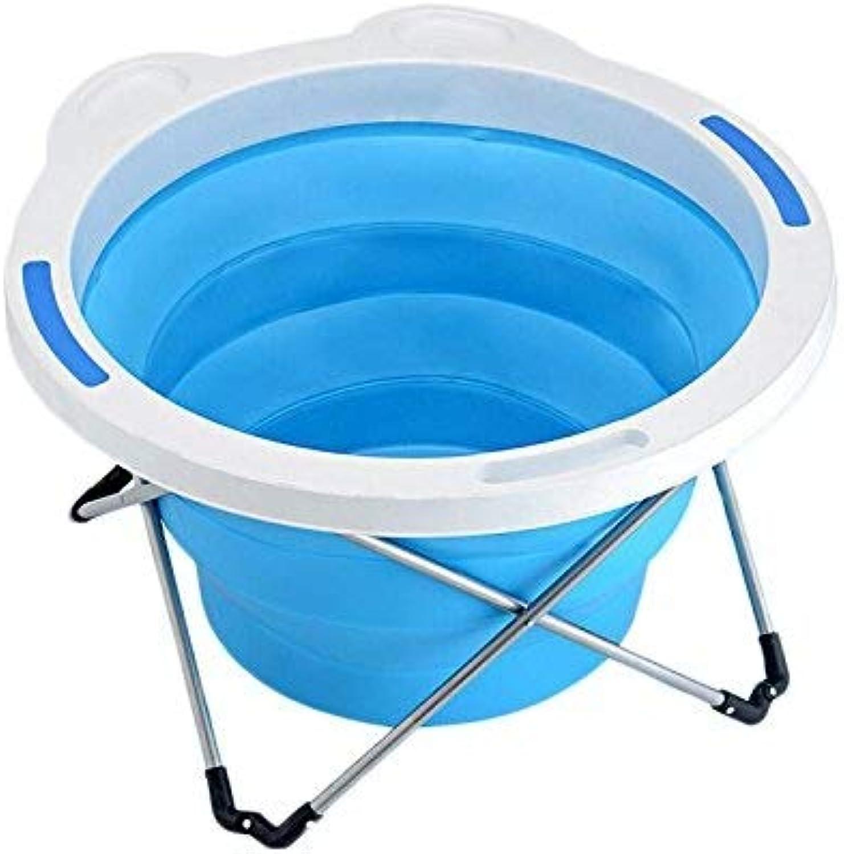 Faltende Badewanne, Falten Dickere Legierungs-Stent-Bad-Badewanne Plastikfamilien-Kind-Badewanne-Badewanne GAOFENG (Farbe   Blau, Größe   43  80CM)