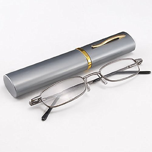 THG Men¨² elegante Leer Cartograf¨ªa Gunmetal gafas de lectura Gafas Vision Care Lupa Lentes port¨¢tiles Caso videoclip 2.00 Bolsillo