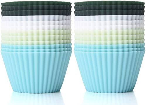 TeaRoo Silicone Baking Cups Reusable 24 Pack Muffin Liners Nonstick Standard Size Cupcake Holder product image