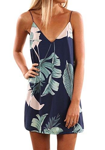 Shawhuwa Womens Sexy Print Summer Beach Boho Straps Short Dress M Tropical Palm