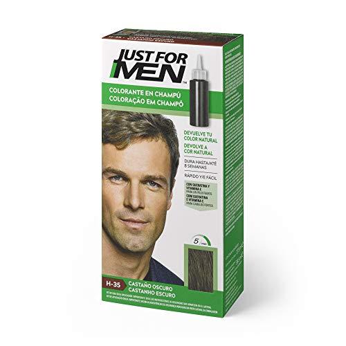 Just for men, Tinte Colorante en champú para el cabello del hombre, Elimina las canas y rejuvenece el cabello en 5 minutos, 30 ml, H35 Castaño Oscuro (8413853402013)