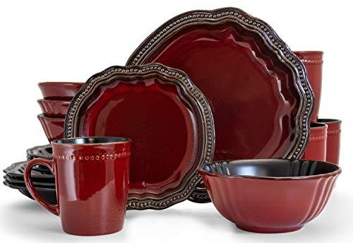 Elama Round Stoneware High Class Dinnerware Full Service Set, Dark Red