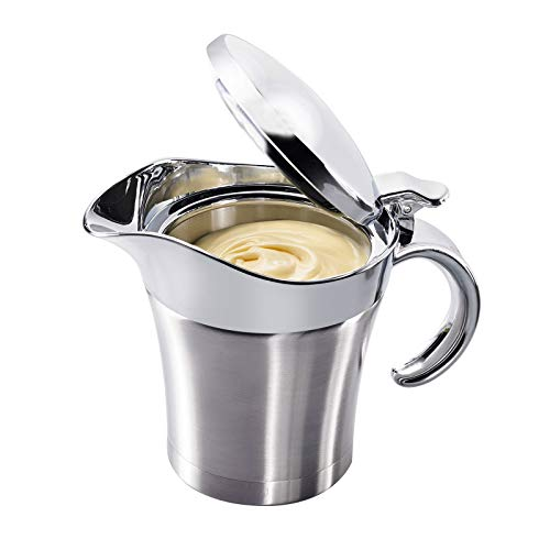 Westmark Thermo-Sauciere mit Klappdeckel, Füllvolumen: 0,5l, Rostfreier Edelstahl/Kunststoff, Silber, 62242260