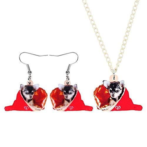 Xx101 Joyería De Acrílico del Perro del Navidad Bolsa De Regalo Conjunto Pendientes del Collar De Decoración Animal Joyería For Las Mujeres De La Muchacha Adolescente Regalo Nixx0 (Color : A)