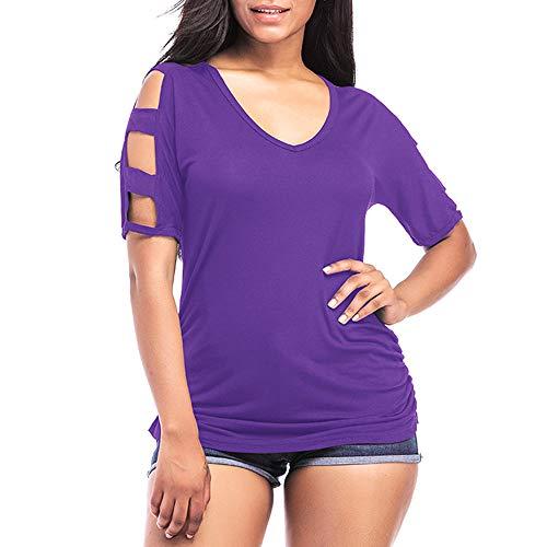 Maglietta Donna Top Donna Estiva Tinta Unita Scollo A V Manica Corta T-Shirt Spalle Scoperte Estate Nuovo Stile Moda Casual Allentato Comodo Top da Donna C-Purple M