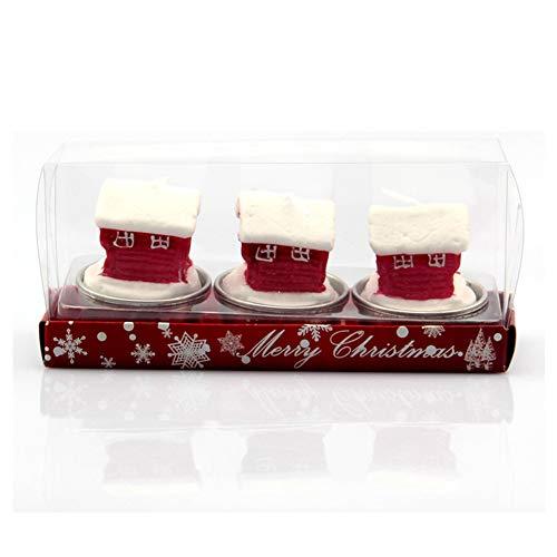 SpringPear® 3 Velas de Navidad para decoración de Mesa, Accesorios de Fiesta de Navidad, Velas 3D con tazón Plateado