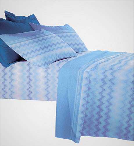 Set Completo Letto Lenzuola Stampate Misura Matrimoniale 100% Cotone Made in Italy (Isabel Blue)