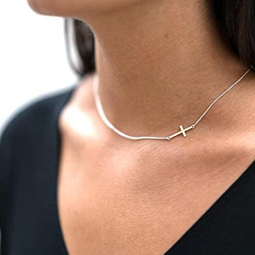 WQZYY&ASDCD Collar De Mujer Collar De Plata De Ley 925 para Mujer, Cadena Fina De Moda Simple-Oro