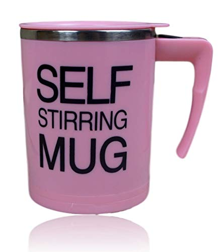 Selbstrührender Becher Selbstrührende Tasse für Heißegetränke | Kaffeetasse Kaffeebecher mit Griff und Deckel | Kaffeetasse batteriebetrieben | mischender Becher - 350ml | Thermosbecher Farbe Pink